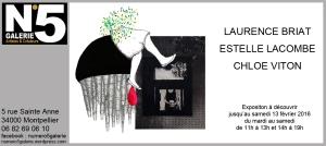 N°5 GALERIE - MONTPELLIER 2015 - EXPOSITION DE DESSIN - Laurence Briat - Estelle Lacombe - Chloe Viton