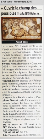 N°5 GALERIE - exposition photo - Ouvrir le champ des possibles - L Art Vues mars 2016 - Montpellier - Delphine Sauret - Sween Renault - Anabelle Fouache - Yannick Delen