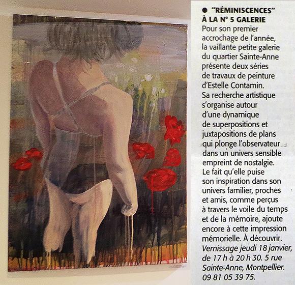 N5 galerie_exposition_peinture_Estelle Contamin_Reminiscences_Montpellier_Midi libre_article presse_janvier_2018