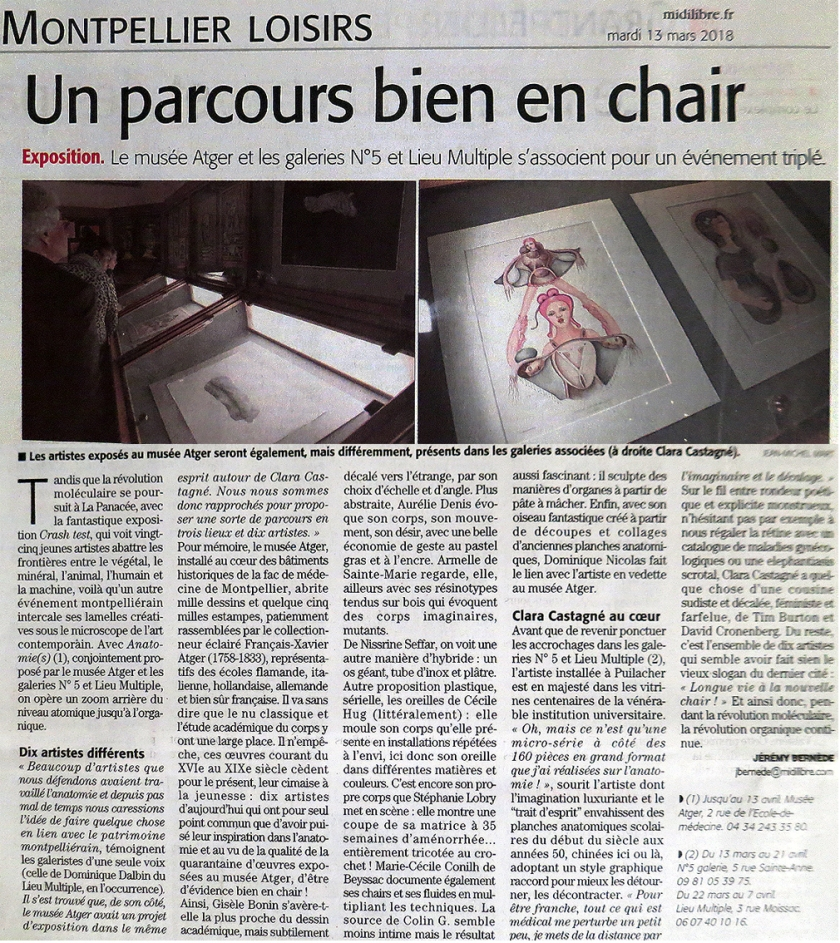 N5 galerie_exposition_Anatomies_le lieu multiple montpellier_musee Atger_presse_midi libre_Montpellier_mars_2018