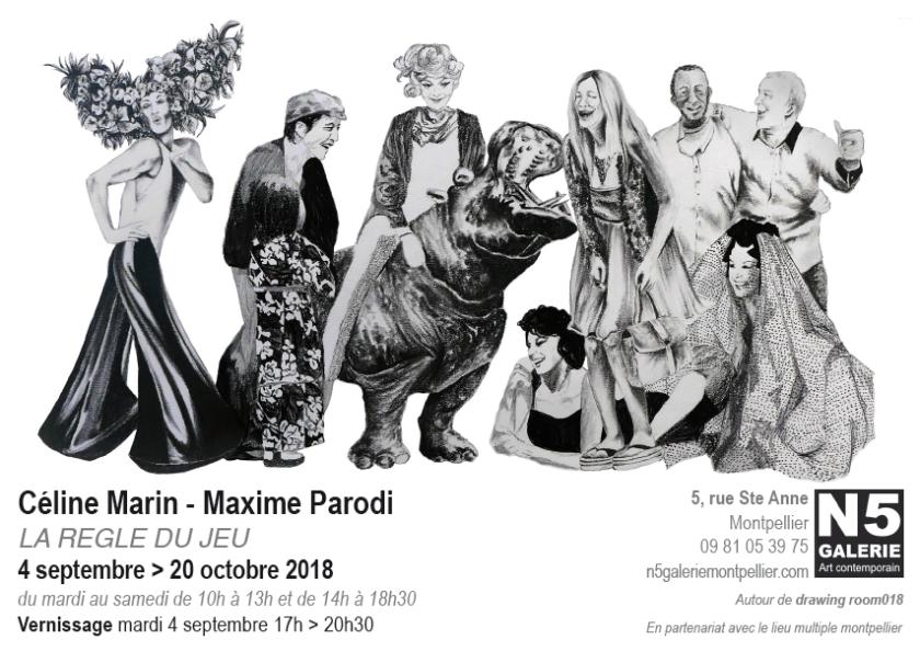 N5 galerie_carton exposition_Celine Marin_Maxime Parodi_dessin_la regle du jeu_Montpellier_septembre_2018