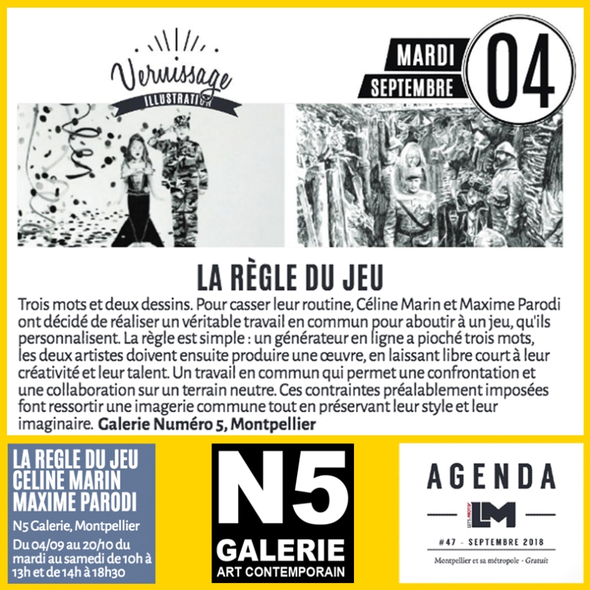 N5 galerie_Céline Marin_Maxime Parodi_exposition_Dessin_presse_LM_Montpellier_2018