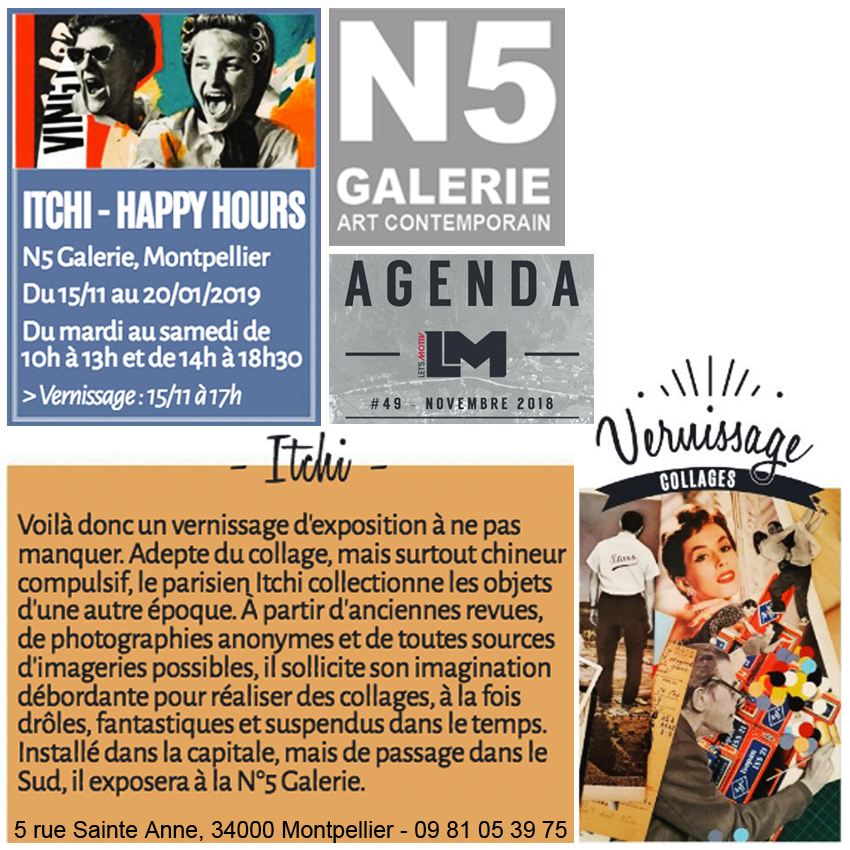 N5 galerie_Itchi_exposition_collage_Happy Hours_Montpellier_2018